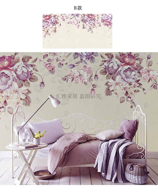 Simple 3D Fresh Flowers And Birds Television Sofa Background Wallpaper Mural