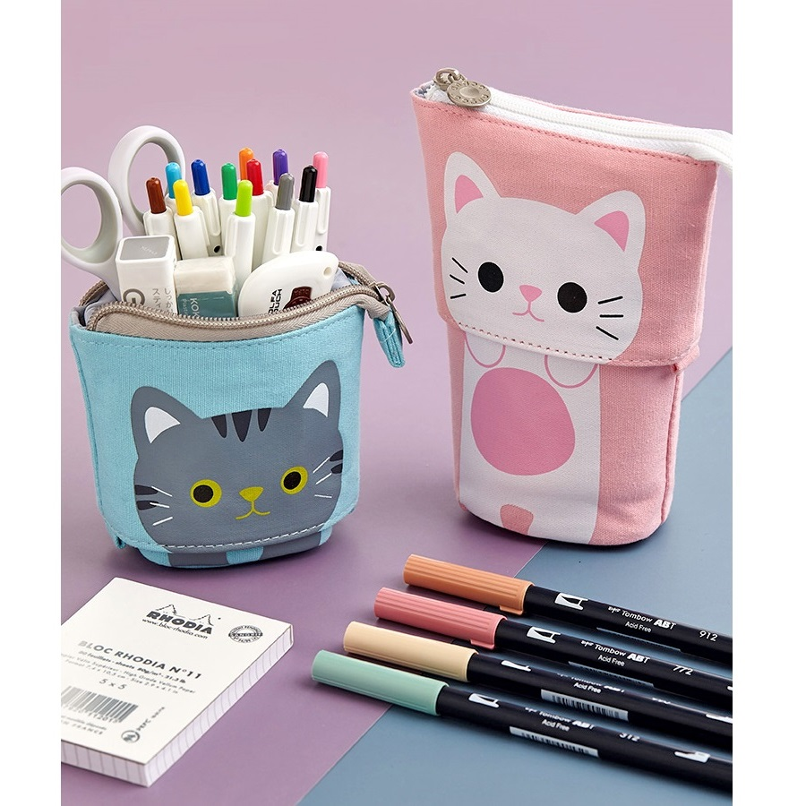 Angoo [Fun] Pen Pencil Bag Case, Cartoon Cute Cat Bear Sheep Canvas Fold Standing Holder Stationery Organizer Kids Gift A6445 1