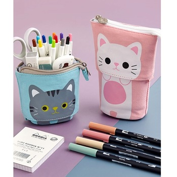Angoo [Fun] Pen Pencil Bag Case, Cartoon Cute Cat Bear Sheep Canvas Fold Standing Holder Stationery Organizer Kids Gift A6445