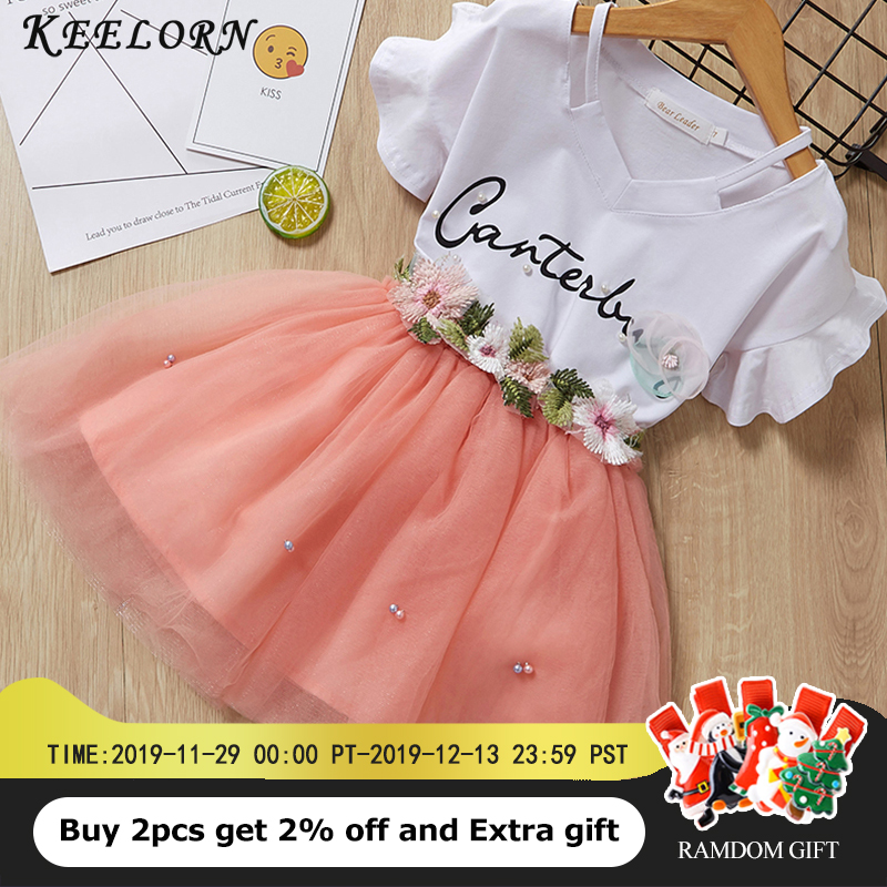 Keelorn Girls Clothing Sets 2019 Summer Brand Kids Clothes Flower Short Sleeve T-Shirt+ Tutu Dress 2Pcs Toddler Children Dresses