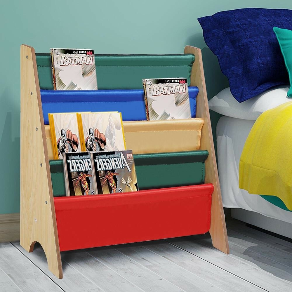 Kinder Buch Regal Sling Lagerung Rack Organizer Bücherregal Display Halter Natur Original Holz