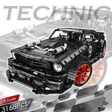 3168個rc forded mustangedビルディングブロックテクニックリモートコントロールレーシングカー車両レンガセット子供モデル子供のおもちゃのギフト