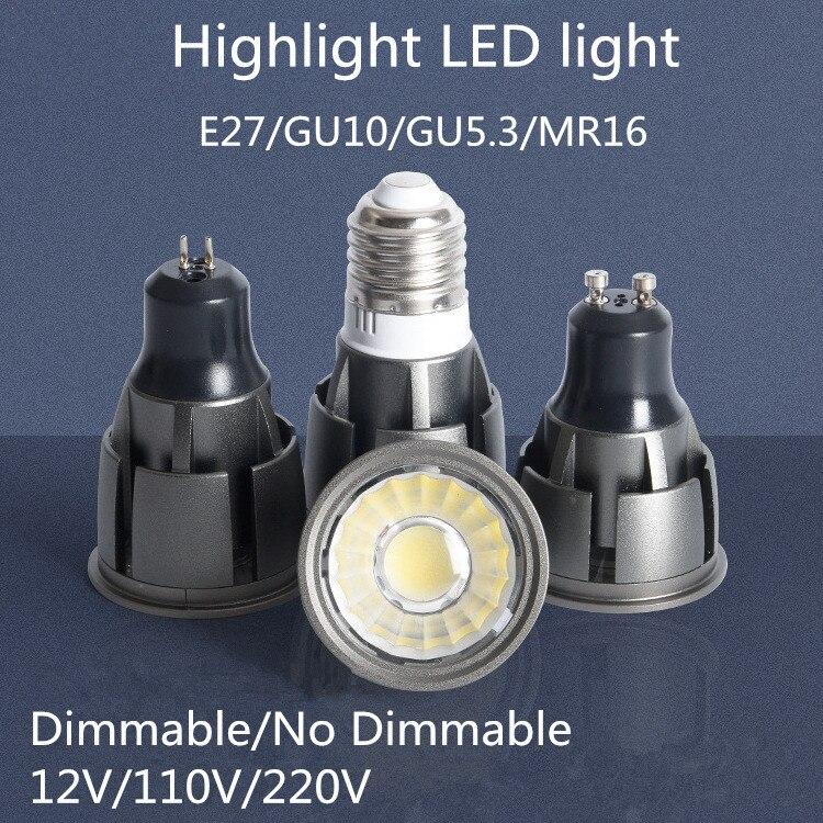Суперъяркая приглушаемая Светодиодная лампа GU10/GU5.3/E27/MR16 COB, 9 Вт, 12 Вт, 15 Вт, 85-265 в, 12 В, точечный светильник, светодиодный светильник с теплым б...