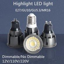 Gu10/gu5.3/e27/mr16 regulável brilhante super cob 9w 12w 15w conduziu a lâmpada 85-265v 12v holofotes branco quente/branco frio conduziu a luz