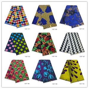 Free Shipping Ankara African Wax Print Fabric Tissu Africain Nigeria Batik Fabric 6 Yards 100% Polyester African wax Fabric 1307(China)