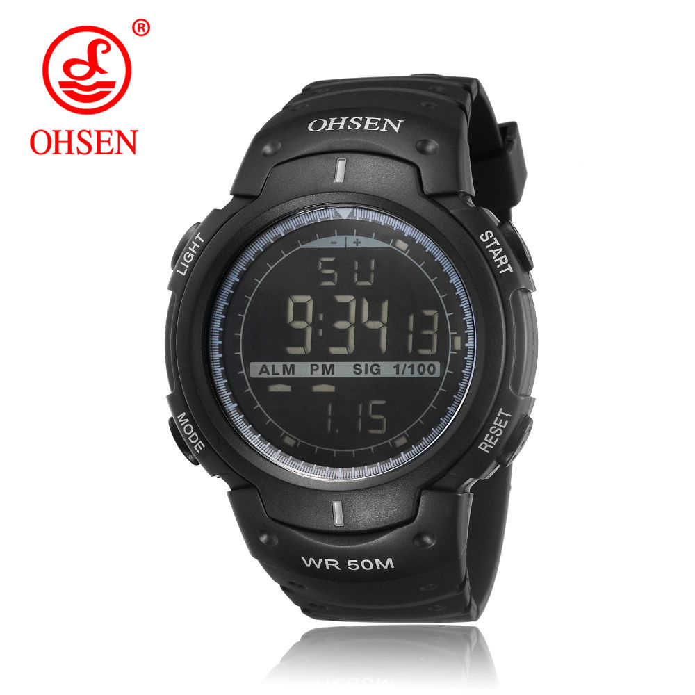 OHSEN мужские спортивные часы с большим циферблатом модные простые календарем