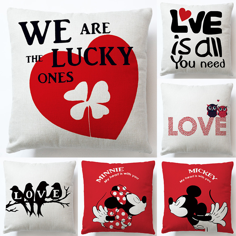 Disney Cartoon Pillowcase Love-shaped Cushion Car Office Backrest Lumbar Pillow Cute Cartoon Mickey Mouse Couple Nap