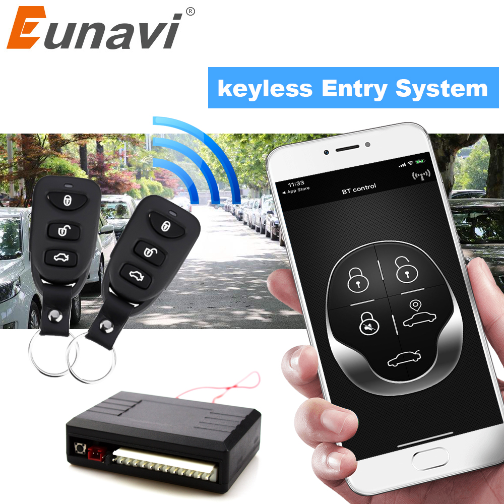 Eunavi Universal Car Auto BT Remote Central Control Kit Keyless Entry System LED Keychain Central Door Lock Locking Vehicle 240