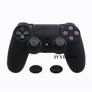 Image 5 - IVYUEEN جراب واقٍ من السيليكون لوحدة تحكم Sony PlayStation 4 ، غطاء نحيف ، مع أغطية مضادة للانزلاق لعصا الإبهام ، لـ Dualshock 4
