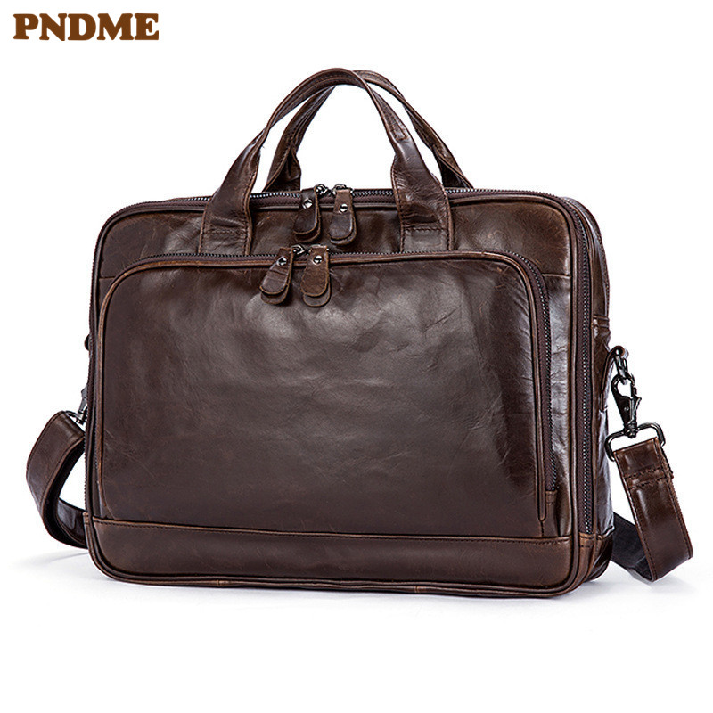 PNDME Business Vintage High Quality Cowhide Men's Briefcase Luxury Genuine Leather Travel Large Capacity Laptop Shoulder Handbag