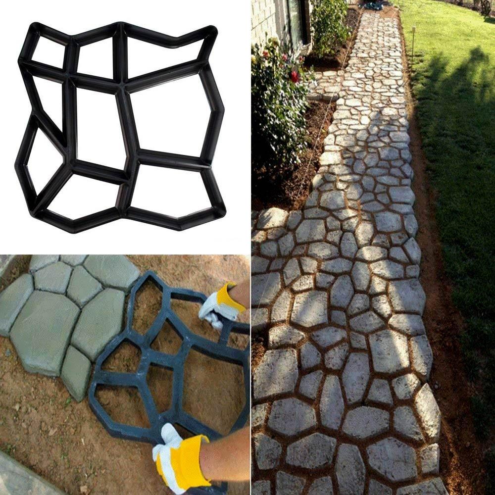 Reusable Plastic DIY Walk Maker Concrete Mold for Garden Walkway Pathway Flooring Catwalk Pavement Paving Sidewalks 35x35x3.6cm|Paving Molds| |  - title=