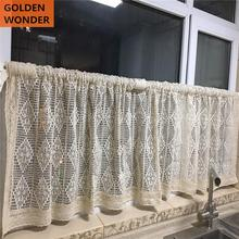 Pastoral Hollow Curtain Half Door Short Coffee Curtains Kitchen Window Cupboard Cabinet