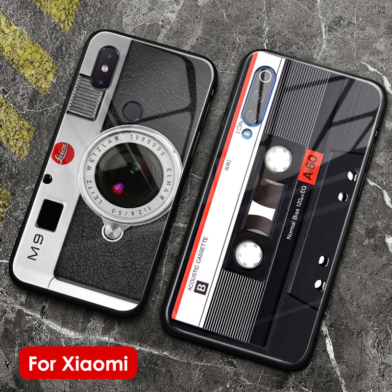 Nostalgic camera cassette tape phone glass case shell cover for Xiaomi Mi 8 9 SE Mix 2 2s 3 RedMi Note 5 6 7 8 Pro