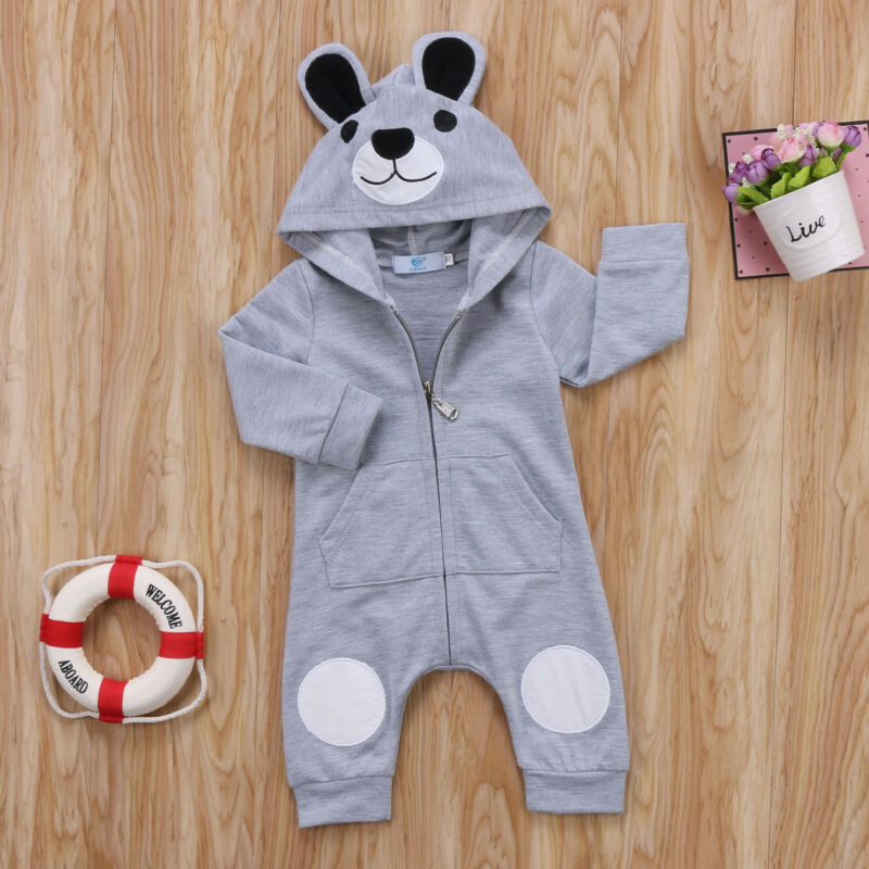 Cute Bear Newborn Infant Baby Boy Girl 0-24M Kid Hooded Romper Jumpsuit Clothes Outfit
