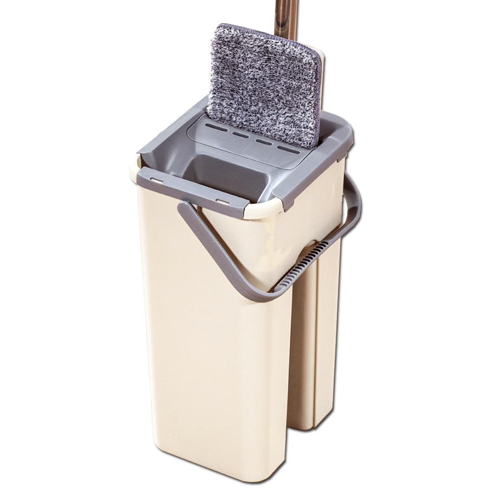 Flat Squeeze Mop Floor With Bucket Water Floors Cleaner Home Kitchen Wooden Floor Mops Lazy Fellow for Wash Floor Squeeze Mop 1