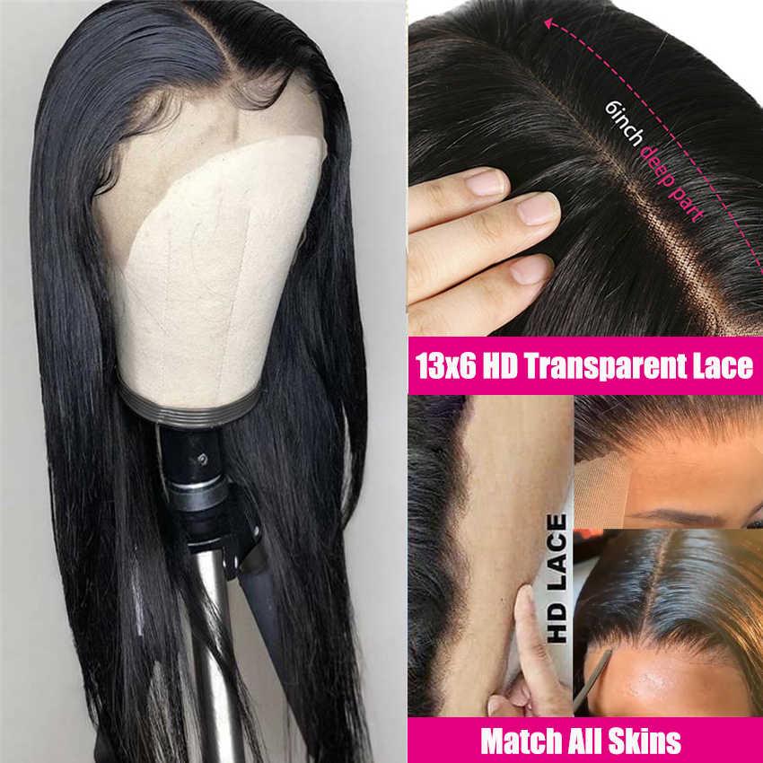 Pelucas de encaje transparente HD 13x6 Peluca de pelo humano Frontal de encaje Lemoda Remy 4x4 peluca brasileña con cierre Frontal de encaje de 28 pulgadas