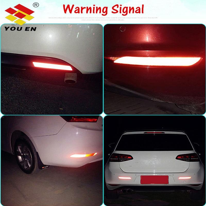 Купить с кэшбэком YOUEN 2Pcs 5 Colors Car Sticker Reflective Tapes Warning Strip The Rear Bumper Sticker Car Decoration Car Accessories