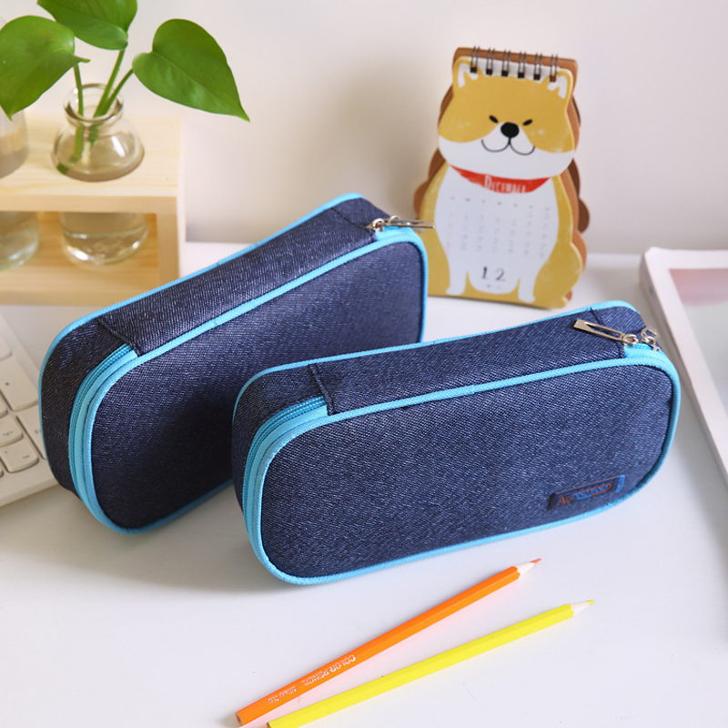 Kawaii Large Capacity School Pencil Case & Bags Multi-function Canvas Pen Box School Office Stationery Supplies Gifts
