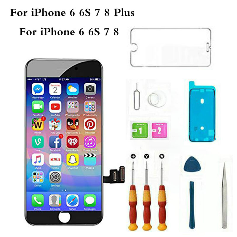 LCD Assembly For iPhone 5 5S 6 6S 7 8 Display Touch Screen Pixel Digitizer Replacement For iPhone6 6S 7 8 Plus LCD Free tools