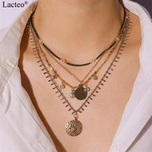 Lacteo Punk Exaggerated Multi Layer Rhinestone Choker Necklace for Women Statement Carved Coin Pendant Female Gifts