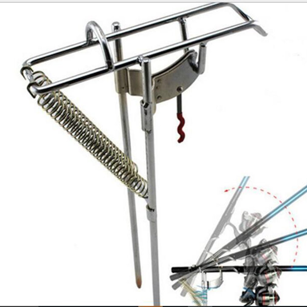 Automatic Adjustable Tackle Bracket Double Spring Fishing Rod Holder Angle Fish Pole Holding Bracket Outdoor Stainless Steel