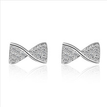 Everoyal Cute Zircon Bowknot Girls Rose Gold Stud Earrings Jewelry Fashion Silver 925 Women