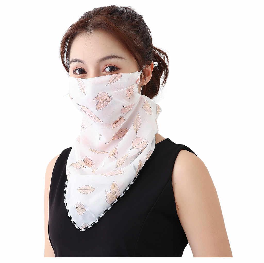 Bufanda estampada con protección solar para ciclismo, funda para la boca, bufanda de seda de gasa para exteriores para mujer, pañuelo para el cuello a prueba de polvo, pasamontañas