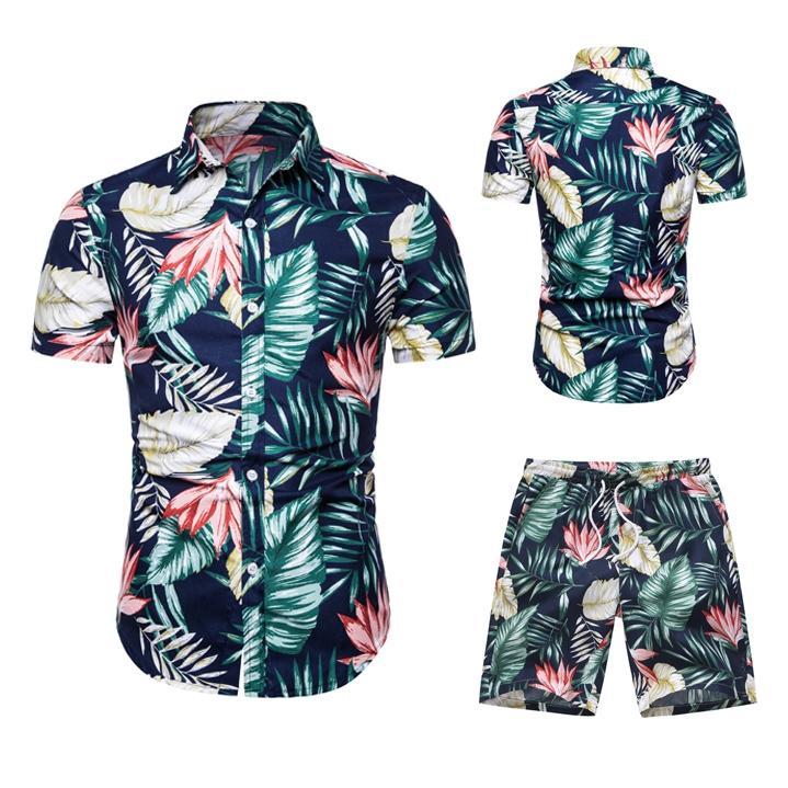 Men's Shirt New 2020 Casual Suit Shirt + Shorts Suit Palm Bay Beach Stroll Suit Men Couple Casual Clothing Shirt Men Women