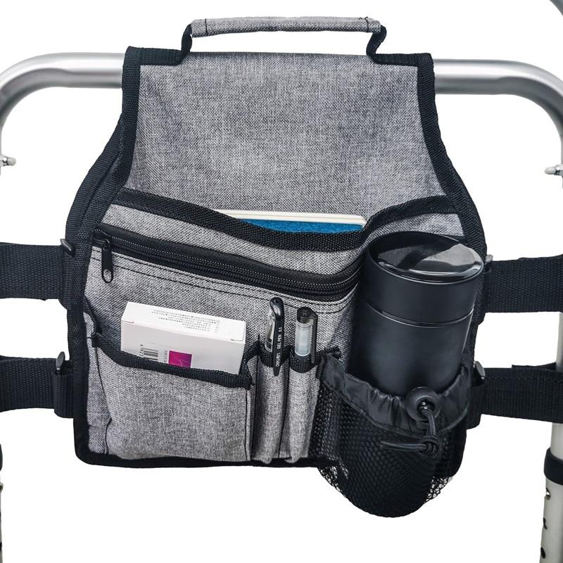 Sac de marcheur sac de rangement main libre accessoire de marcheur Handicap  côté panier pochette pour fauteuil roulant pliant marcheurs