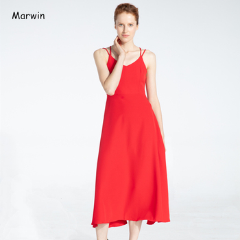 Marwin New-Coming Spring Summer Holiday Dress Cross Spaghetti Strap Open Back Solid Beach Style Ankle-Length Women Dresses 3
