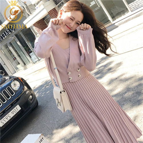 New Autumn And Winter Women Knitted Double-breasted Long Sleeve Coat+Vest Pleated Dresses Set For Ladies Woman