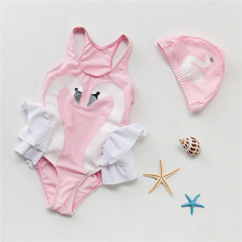 INS Hot Selling 2018 New Style Children Swan Bathing Suit Cute Children One-piece GIRL'S One-piece Swimsuit Bags Caps
