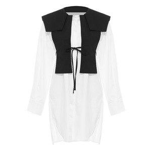 DEAT 2020 New Spring Fashion Turn-down Collar Full Sleeves Cotton Shirt Dress+ Black Tassels Lace Up Vest WL02900L