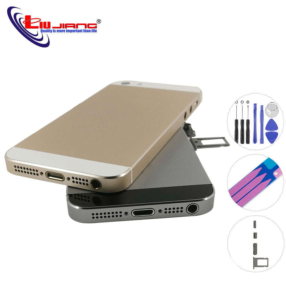 Back Housing For IPhone 5 5s 5G Battery Cover Door Rear Cover Chassis Replace Parts Replacement With Card Tray Buttons