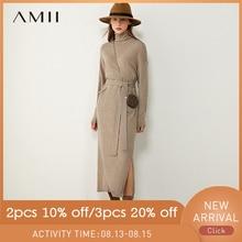 AMII Minimalism Autumn Fashion Knitted Women Dress Solid Tur