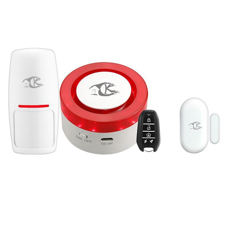 FFYY-Wifi Wireless Mini Siren Home Security Alarm Airen Kits Works With Smart Life Compatible With Amazon Alexa