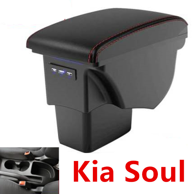 For Kia Soul Armrest Box Leather Car Interior Parts Center Console Armrest Box Auto Armrests Storage with USB 2009-2014