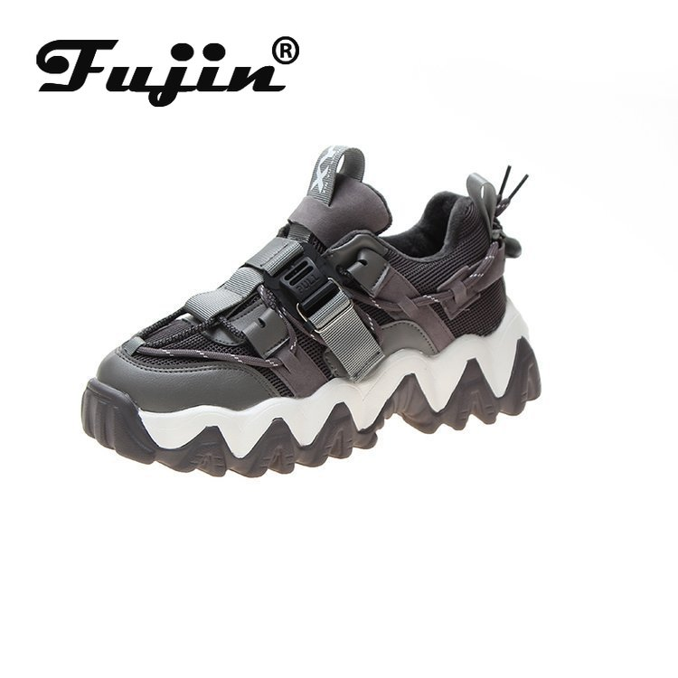 Fujin Women Sneakers Platform 2020 New Spring Buckle Casual Shoes Women Ladies Grey Black Vulcanized Shoes  Zapatos De Mujer