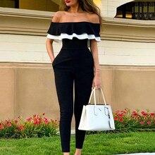 New Women's Sexy Strapless Jumpsuit Fashion Slim Short Sleeve Ruffled Jumpsuit Hot