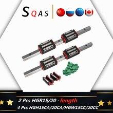 Fast deliver CNC square guide linear rail HGR15/ HGR20 2 PCS +4 PCS HGH15CA /HGW15CC /HGH20CA /HGW20CC carriage slides for CNC