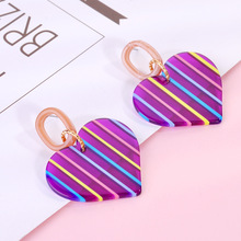 New Colorblock Acrylic Earrings Elegant Ladies Pendant Love Heart Colorful Long For Women Jewelry