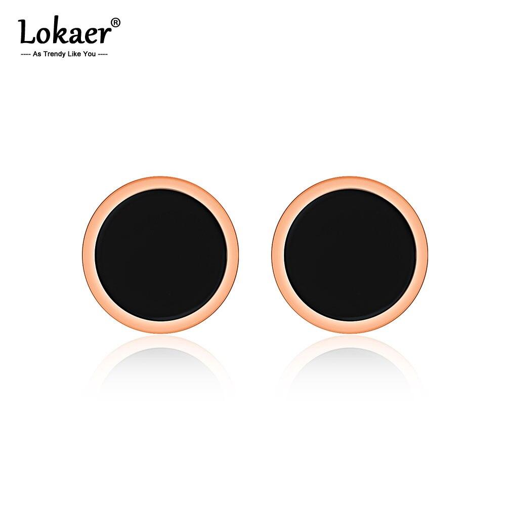Lokaer Edelstahl Minimalistischen Ohrringe Einfache Rose Gold Farbe Schwarz Kreis Stud Ohrringe Geometrische Schmuck Für Frauen E17027