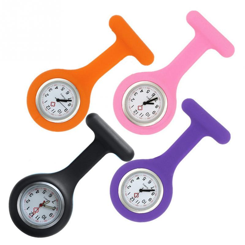 Cute Gift Silicone Nurse Watch Accurate Practical Kids Mini Portable With Clip Brooch Round Dial Pocket
