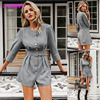 2019 autumn new round neck seven-point sleeve short jumpsuit women a row of buckle Button  Regular  Casual