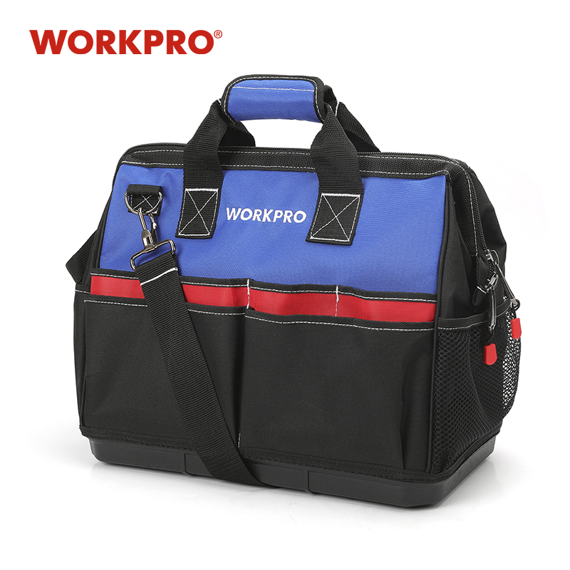 WORKPRO Heavy Duty Tool Bag,18-Inch Wide Mouth Canvas Tool Organizer With Water Proof Molded Base