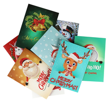 Christmas Greeting Cards 8 Sets DIY 5D Diamond Painting Creative birthday New Year Card for Gifts
