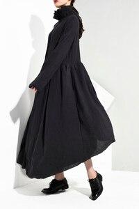 Image 5 - [EAM] vestido largo negro plisado asimétrico con cuello alto nueva manga larga corte holgado moda tendencia primavera otoño 2020 JI0980