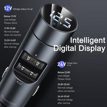 Baseus FM Transmitter Car Wireless Bluetooth 5.0 FM Radio Modulator Car Kit 3.1A USB Car Charger Handsfree Aux Audio MP3 Player 2