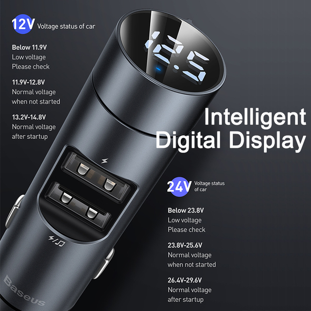 Baseus FM Transmitter Car Bluetooth 5.0 FM Radio Modulator Car Kit 3.1A USB Car Charger Handsfree Wireless Aux Audio MP3 Player 3