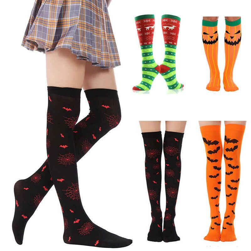 ถุงเท้าผู้หญิงถุงน่องอบอุ่นต้นขาสูงกว่าถุงเท้าเข่าถุงเท้ายาวถุงน่องคริสต์มาสฮาโลวีนถุงน่องเซ็กซี่ mujer arras